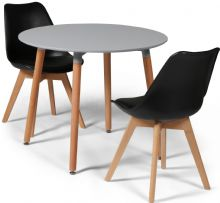 Toulouse Dining Set  - 90cms Round Grey Table & 2 Black Chairs